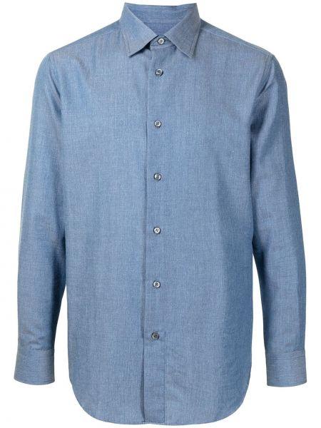 Рубашка с длинным рукавом - синяя Brioni