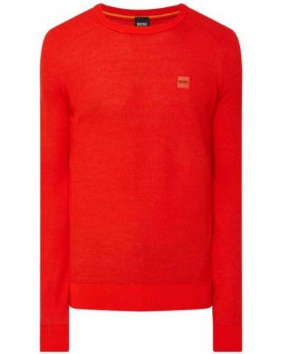 Prążkowany pomarańczowy sweter bawełniany Boss Casualwear