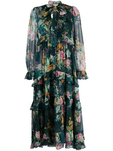 Шифоновое платье с бантом с воротником на молнии Zimmermann