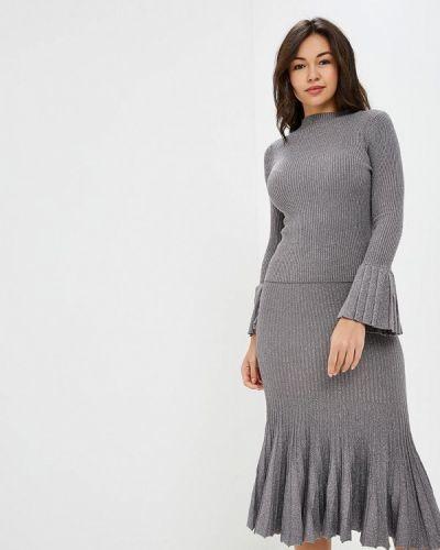 Серый юбочный костюм Trendyangel