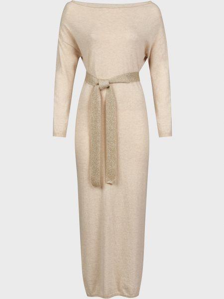 Шерстяное бежевое платье с поясом Kontatto