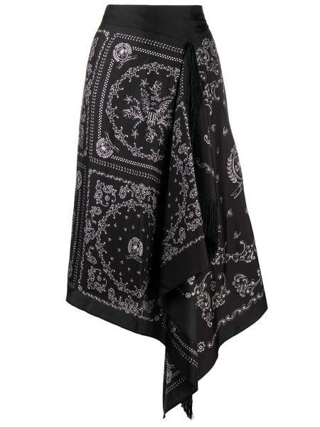 Шелковая черная асимметричная юбка миди с драпировкой Hilfiger Collection