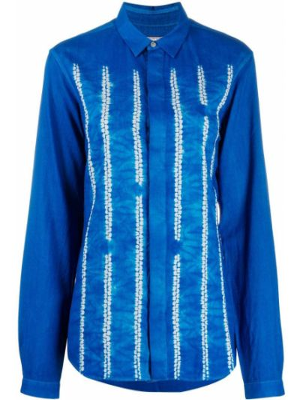 Синяя с рукавами классическая рубашка с воротником Suzusan