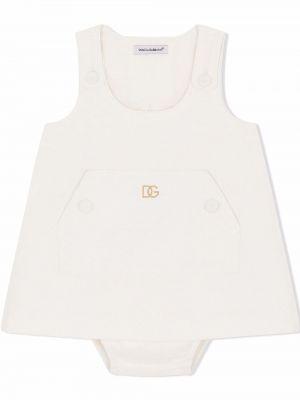 Biała sukienka z haftem Dolce & Gabbana Kids