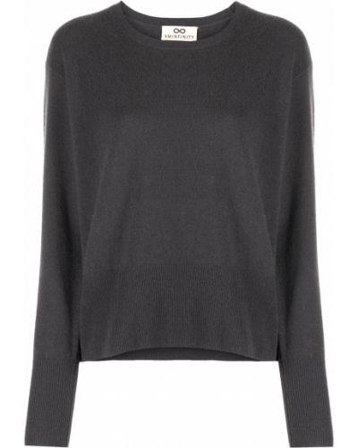 Кашемировый серый джемпер в рубчик с вырезом Sminfinity