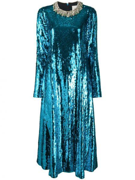 Шелковое платье миди с пайетками на молнии с вырезом Gucci
