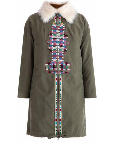 Утепленная куртка на овчине норковая Valentino