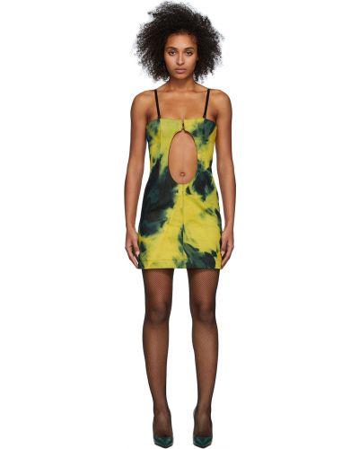 Zielona sukienka mini bez rękawów Mowalola