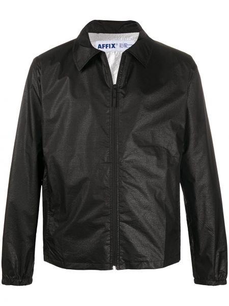 Czarna długa kurtka z nylonu z długimi rękawami Affix