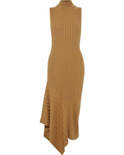 Асимметричное желтое платье миди из вискозы Veda