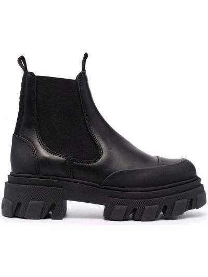 Кожаные ботинки челси - черные Ganni
