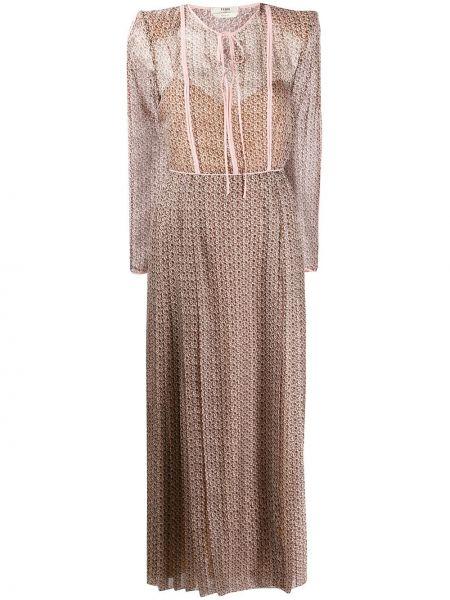 Коричневое длинное шелковое платье прозрачное Fendi
