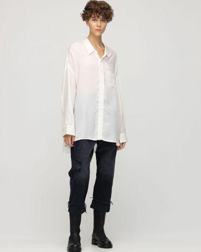 Белая рубашка на пуговицах оверсайз R13