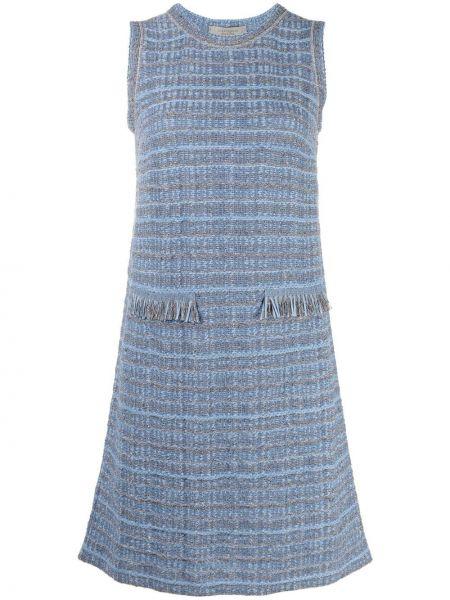 Синее платье трапеция с бахромой D.exterior
