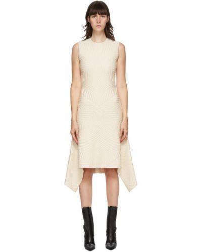 Платье с воротником без рукавов айвори стрейч Alexander Mcqueen