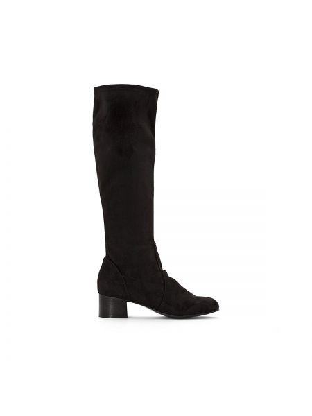 Сапоги-чулки кожаные на широком каблуке Anne Weyburn