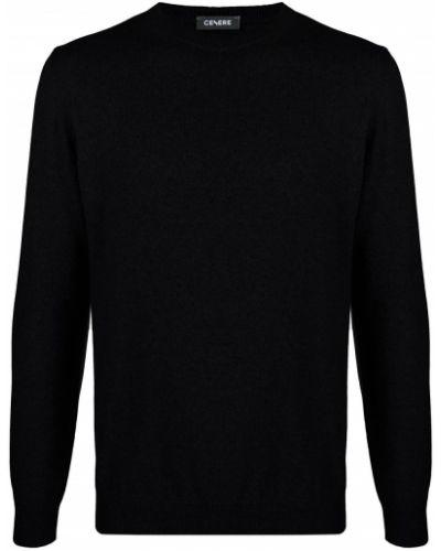 Приталенный шелковый черный джемпер круглый Cenere Gb
