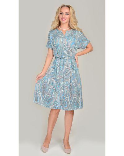 Платье с поясом на пуговицах из вискозы Open Fashion Premium