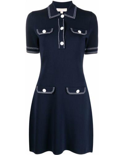 С рукавами синее платье мини с воротником Michael Kors