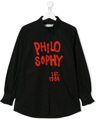 Рубашка с логотипом черный Philosophy Di Lorenzo Serafini Kids