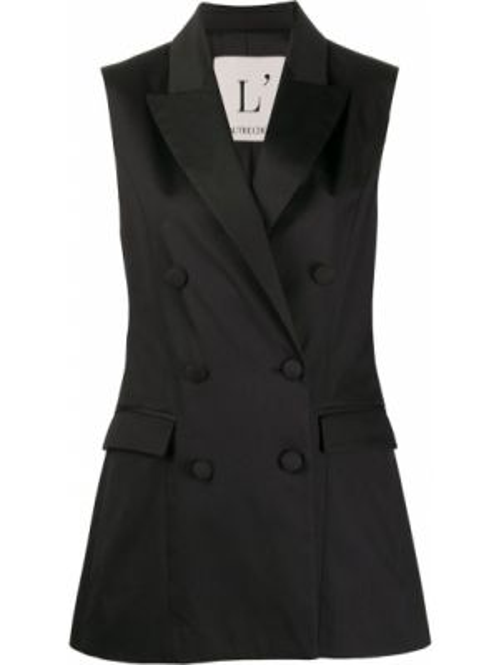 Черный пиджак двубортный без рукавов L'autre Chose