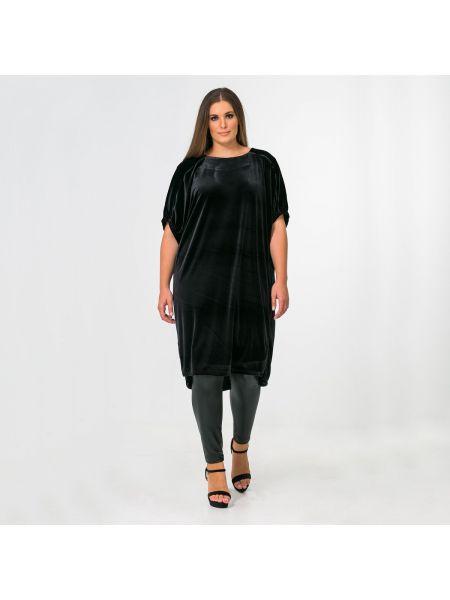Черная туника с длинными рукавами летучая мышь мембранная с круглым вырезом Mat Fashion