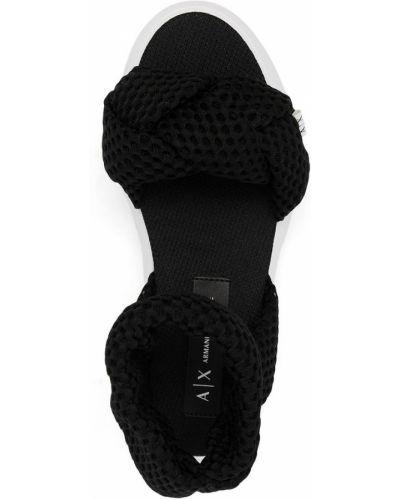 Черные плетеные сандалии Armani Exchange