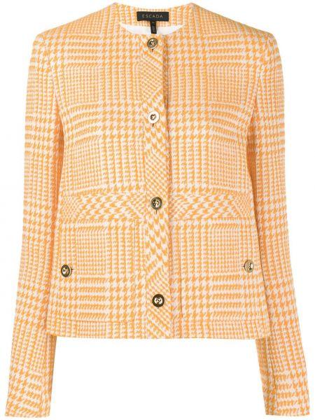 Оранжевая куртка на пуговицах круглая с круглым вырезом Escada