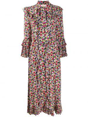 Шелковое плиссированное платье макси со складками с воротником La Doublej
