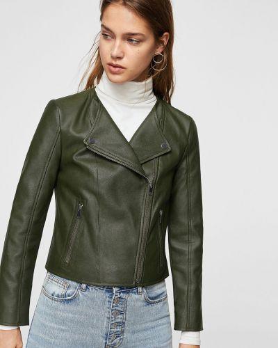 Кожаная куртка облегченная с карманами Mango