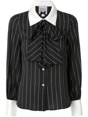 С рукавами черная блузка с длинным рукавом с бантом на пуговицах Edward Achour Paris