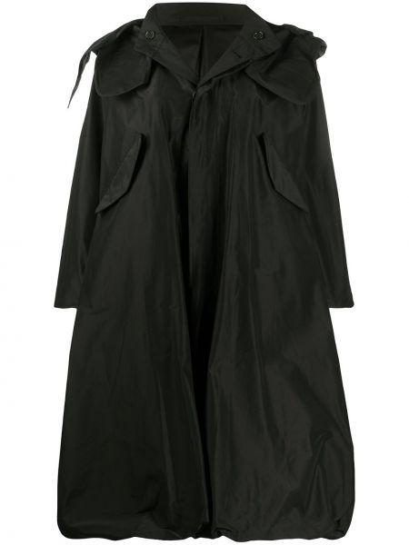 Шелковое черное длинное пальто с капюшоном Comme Des Garçons Noir Kei Ninomiya