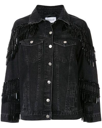 Черная джинсовая куртка с бахромой Dalood
