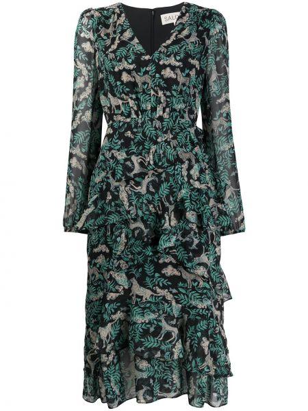 Платье миди облегающее с V-образным вырезом Saloni