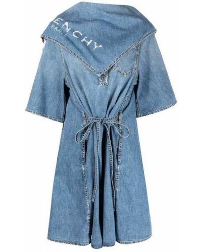 Niebieska sukienka jeansowa na co dzień bawełniana Givenchy