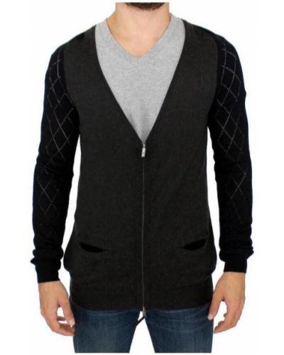 Wełniany czarny sweter z zamkiem błyskawicznym Costume National