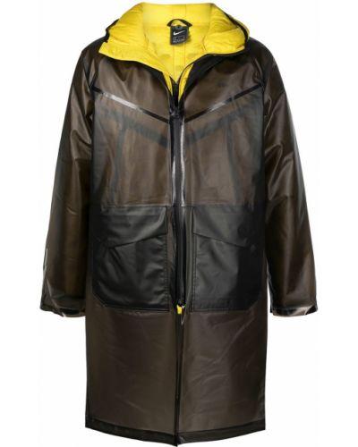 Черное пальто классическое с капюшоном с гусиным пухом Nike