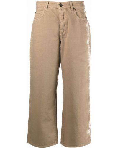 Бежевые укороченные широкие джинсы Weekend Max Mara
