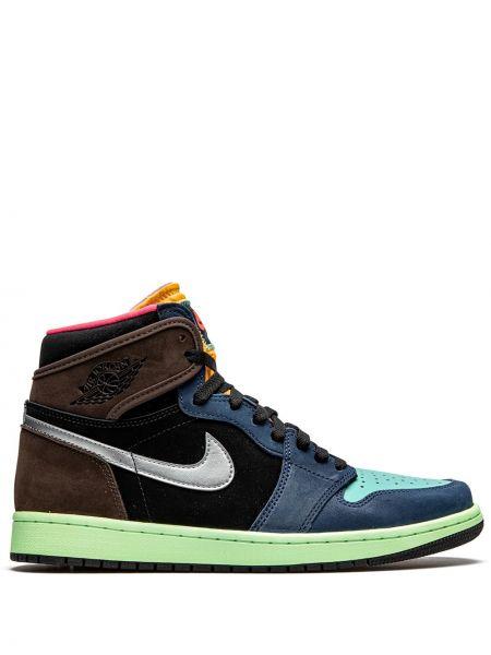 Синие кожаные высокие кроссовки на шнуровке Jordan