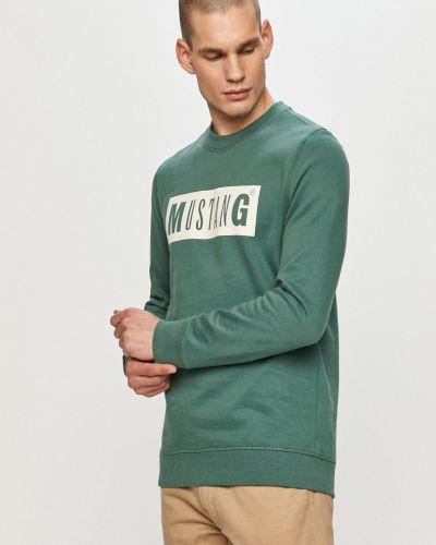Zielona bluza z kapturem bawełniana Mustang