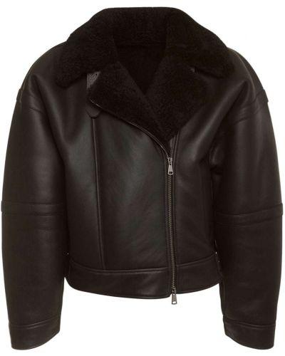 Черная кожаная куртка байкерская из натуральной кожи Max Mara