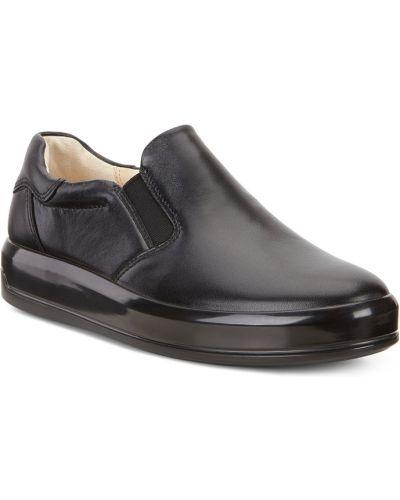 Слипоны черный кожаные Ecco