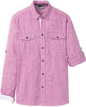 Рубашка с длинным рукавом с карманами льняная Bonprix