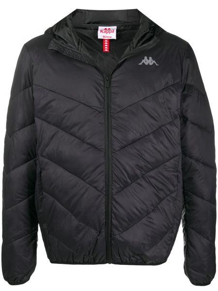С рукавами черная длинная куртка с капюшоном Kappa
