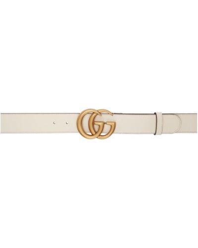 Biały pasek z paskiem z klamrą z prawdziwej skóry Gucci
