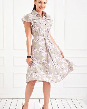Летнее платье с цветочным принтом с поясом Taiga
