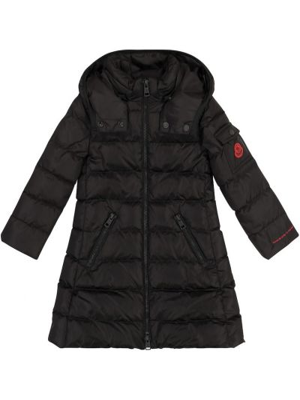 Пуховое черное пальто Moncler Enfant