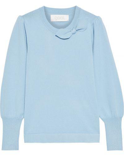Prążkowany niebieski sweter z wiskozy Goat
