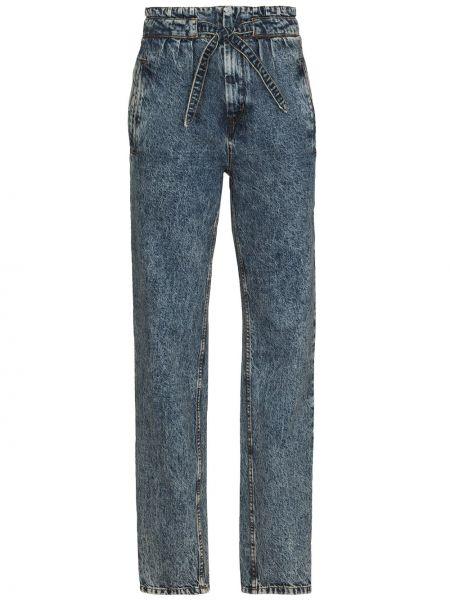 Bawełna niebieski jeansy na wysokości z kieszeniami wysoki wzrost Isabel Marant
