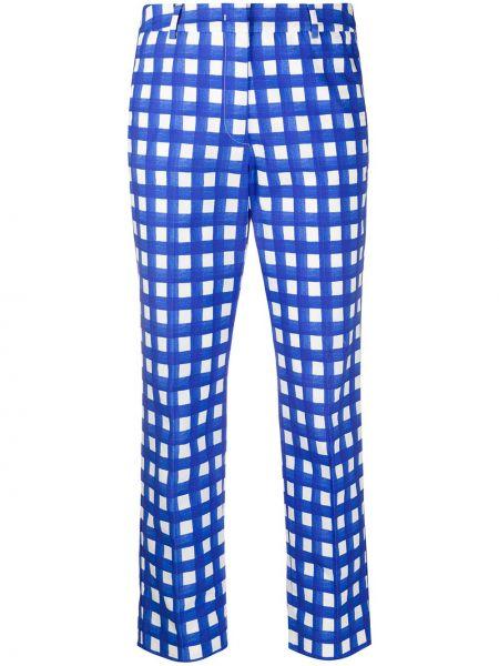 Хлопковые синие прямые брюки с воротником Weekend Max Mara